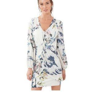 Hale Bob Ivory Tavanna Faux Wrap Jersey Dress Med